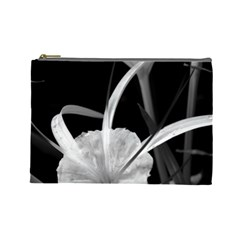 Exotic Black And White Flowers Cosmetic Bag (large)  by timelessartoncanvas