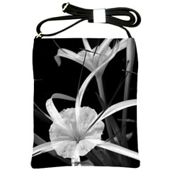 Exotic Black And White Flowers Shoulder Sling Bags by timelessartoncanvas