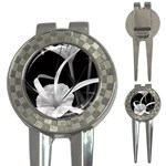Exotic Black and White Flowers 3-in-1 Golf Divots Front