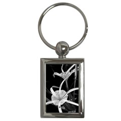 Exotic Black And White Flowers Key Chains (rectangle)  by timelessartoncanvas