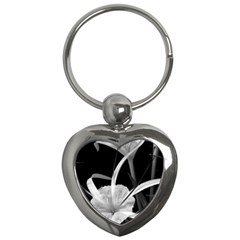 Exotic Black And White Flowers Key Chains (heart)  by timelessartoncanvas