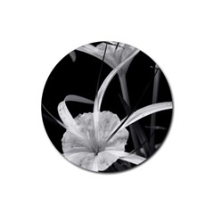 Exotic Black And White Flowers Rubber Coaster (round)  by timelessartoncanvas