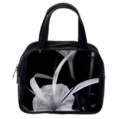 Exotic Black And White Flowers Classic Handbags (one Side) by timelessartoncanvas