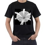 Exotic Black and White Flower 2 Men s T-Shirt (Black) (Two Sided) Front