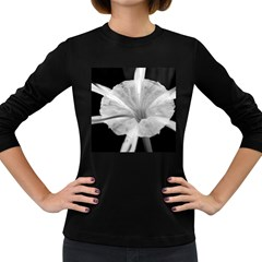 Exotic Black And White Flower 2 Women s Long Sleeve Dark T Shirts by timelessartoncanvas