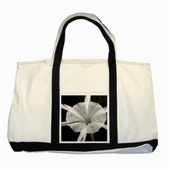 Exotic Black And White Flower 2 Two Tone Tote Bag  by timelessartoncanvas