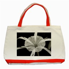 Exotic Black And White Flower 2 Classic Tote Bag (red)  by timelessartoncanvas