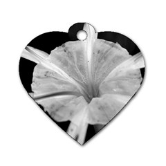 Exotic Black and White Flower 2 Dog Tag Heart (Two Sides) by timelessartoncanvas