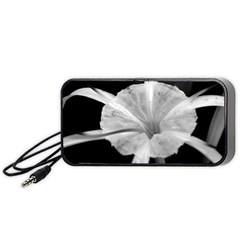 Exotic Black And White Flower 2 Portable Speaker (black)  by timelessartoncanvas
