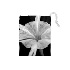 Exotic Black And White Flower 2 Drawstring Pouches (small)  by timelessartoncanvas
