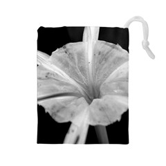 Exotic Black And White Flower 2 Drawstring Pouches (large)  by timelessartoncanvas