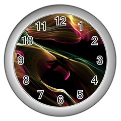 Glowing, Colorful  Abstract Lines Wall Clocks (silver)  by FantasyWorld7