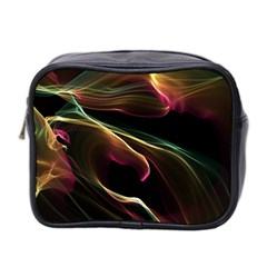 Glowing, Colorful  Abstract Lines Mini Toiletries Bag 2 Side by FantasyWorld7