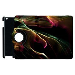 Glowing, Colorful  Abstract Lines Apple Ipad 2 Flip 360 Case