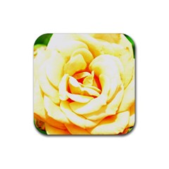 Orange Yellow Rose Rubber Square Coaster (4 Pack)  by timelessartoncanvas