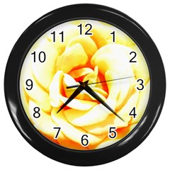 Orange Yellow Rose Wall Clocks (black) by timelessartoncanvas