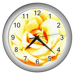 Orange Yellow Rose Wall Clocks (silver)  by timelessartoncanvas