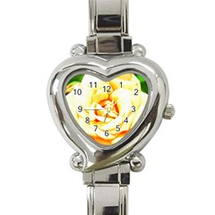 Orange Yellow Rose Heart Italian Charm Watch by timelessartoncanvas