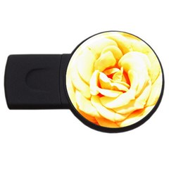 Orange Yellow Rose Usb Flash Drive Round (4 Gb)  by timelessartoncanvas