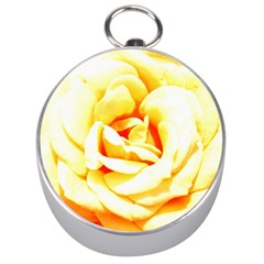 Orange Yellow Rose Silver Compasses by timelessartoncanvas