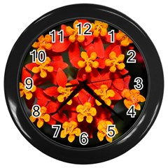 Orange And Red Weed Wall Clocks (black) by timelessartoncanvas