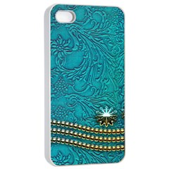 Wonderful Decorative Design With Floral Elements Apple Iphone 4/4s Seamless Case (white)