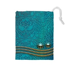 Wonderful Decorative Design With Floral Elements Drawstring Pouches (large)  by FantasyWorld7
