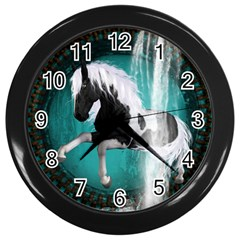 Beautiful Horse With Water Splash  Wall Clocks (black) by FantasyWorld7