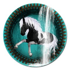 Beautiful Horse With Water Splash  Magnet 5  (round) by FantasyWorld7
