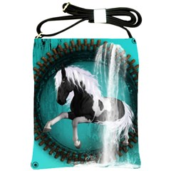 Beautiful Horse With Water Splash  Shoulder Sling Bags by FantasyWorld7