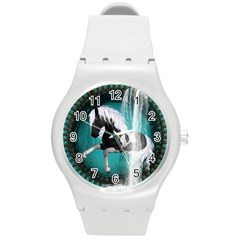 Beautiful Horse With Water Splash  Round Plastic Sport Watch (m) by FantasyWorld7