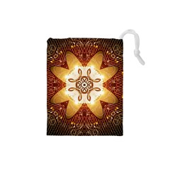 Elegant, Decorative Kaleidoskop In Gold And Red Drawstring Pouches (small)  by FantasyWorld7