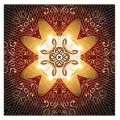 Elegant, Decorative Kaleidoskop In Gold And Red Large Satin Scarf (square) by FantasyWorld7