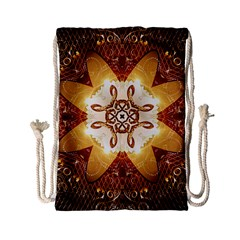 Elegant, Decorative Kaleidoskop In Gold And Red Drawstring Bag (small) by FantasyWorld7