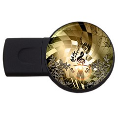 Clef With  And Floral Elements Usb Flash Drive Round (2 Gb)  by FantasyWorld7