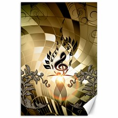Clef With  And Floral Elements Canvas 24  X 36  by FantasyWorld7