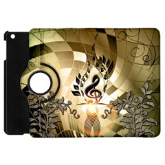 Clef With  And Floral Elements Apple Ipad Mini Flip 360 Case by FantasyWorld7