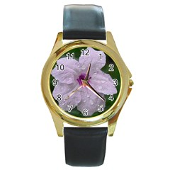 Pink Purple Flowers Round Gold Metal Watches by timelessartoncanvas