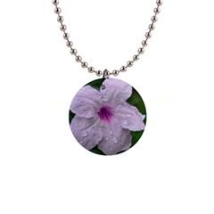 Pink Purple Flowers Button Necklaces by timelessartoncanvas