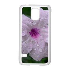Pink Purple Flowers Samsung Galaxy S5 Case (white) by timelessartoncanvas