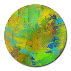 Abstract In Blue, Green, Copper, And Gold Round Mousepads by digitaldivadesigns