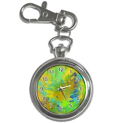 Abstract In Blue, Green, Copper, And Gold Key Chain Watches by digitaldivadesigns