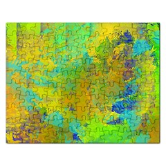 Abstract In Blue, Green, Copper, And Gold Rectangular Jigsaw Puzzl by theunrulyartist