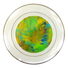 Abstract in Blue, Green, Copper, and Gold Porcelain Plates by theunrulyartist