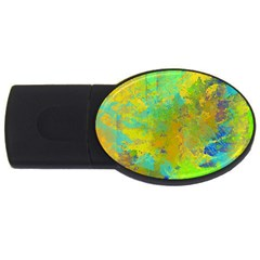 Abstract In Blue, Green, Copper, And Gold Usb Flash Drive Oval (4 Gb)  by theunrulyartist