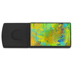 Abstract In Blue, Green, Copper, And Gold Usb Flash Drive Rectangular (4 Gb)  by theunrulyartist