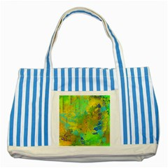 Abstract In Blue, Green, Copper, And Gold Striped Blue Tote Bag  by digitaldivadesigns