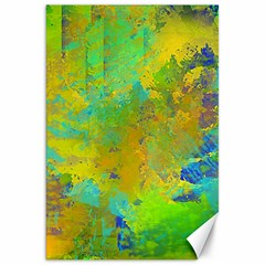 Abstract In Blue, Green, Copper, And Gold Canvas 20  X 30   by theunrulyartist