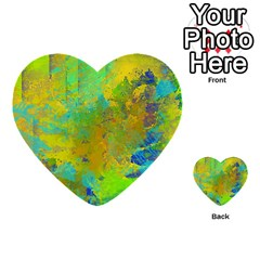 Abstract In Blue, Green, Copper, And Gold Multi Purpose Cards (heart)