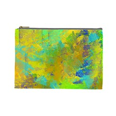 Abstract In Blue, Green, Copper, And Gold Cosmetic Bag (large)  by theunrulyartist